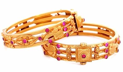 Pink Stone Studded Gold Bangle