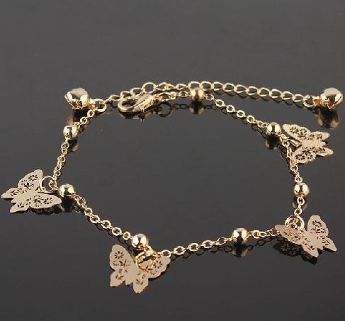 Golden Designer Butterfly Anklet