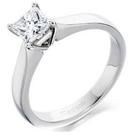 Princess Cut High Stud Silver Ring