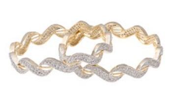 Zigzag Structure Thin Gold Bangle