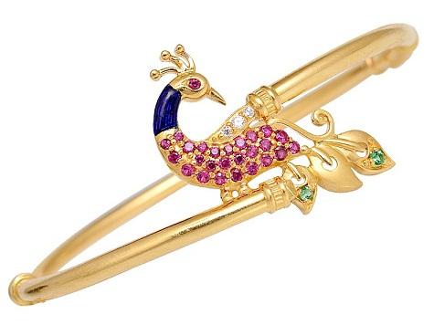 Peacock Design on Thin Gold Bangle