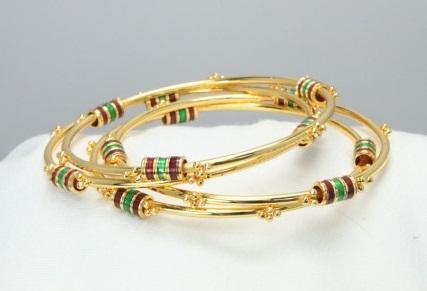 Thin Gold Bangles with Kundan Round Beads