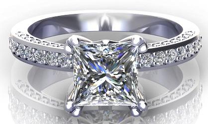 White Gold Princess Cut Engagement Ring