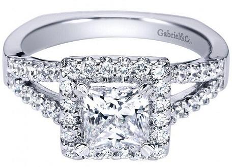 Halo Split Shank Princess Cut Engagement Ring