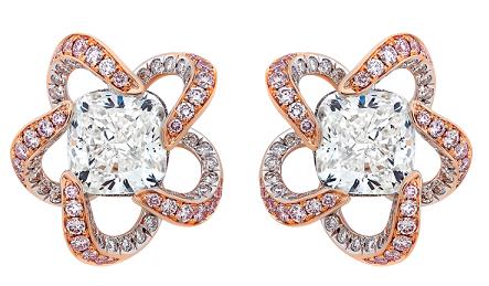 The pink flower designed earrings