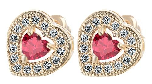 Heart shape solitaire earrings