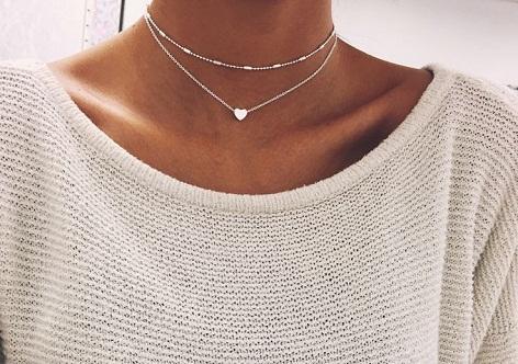 Heart chain silver choker