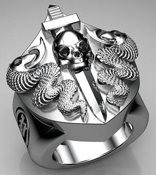 Snake and Skull Embossed Sterling Silver Rings for Men