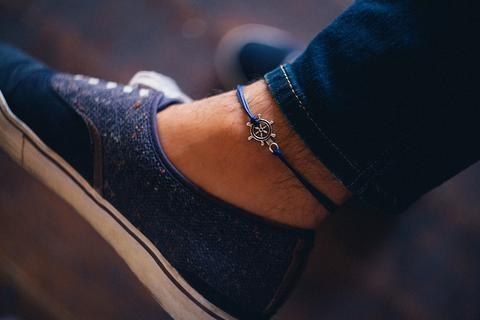 Blue Ship Wheel Anklets
