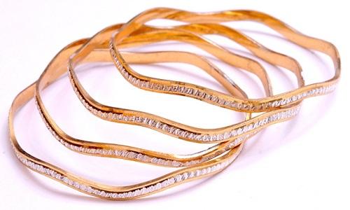 Irregular Shaped Round Rolled Gold Bangles