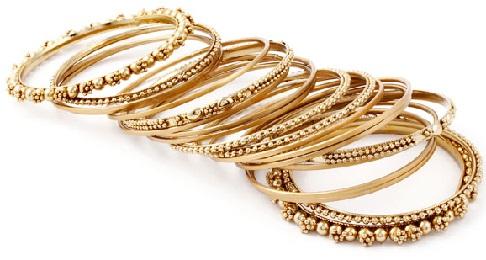 Rolled Gold Bangles Set in Antique Design