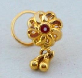 18 K Gold Designer Nose Ring with Bells