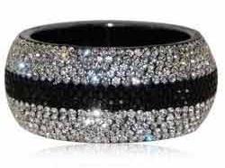 Black and white Crystal Bangle