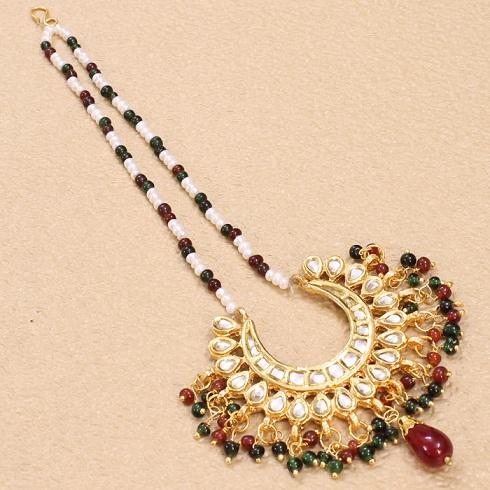 Designer MaangTikka with Colourful Beads
