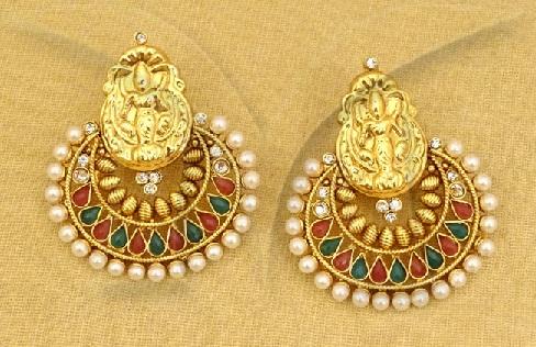 temple-jewellery-earrings-manekratna-paanshape-guinea-coin-earrings