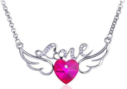 Pink Gemstone heart necklace