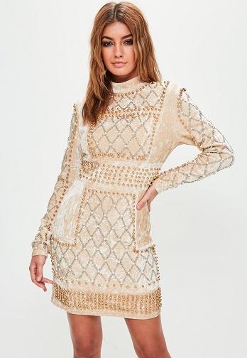 Georgette A Line Dress - Beaded Dress