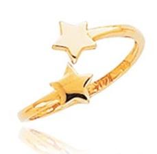 Star Embossed Gold Toe Ring