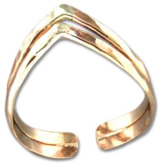 Double V Gold Toe Rings
