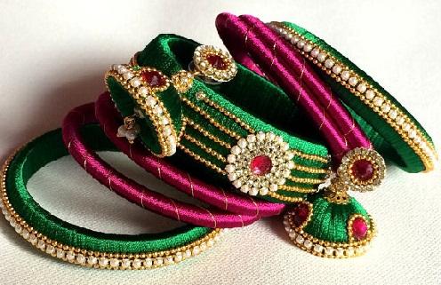 Jhumka Style Thread Colourful Bangles
