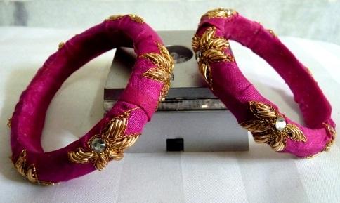 Handmade Pink Zardosi Bangles with Kundans