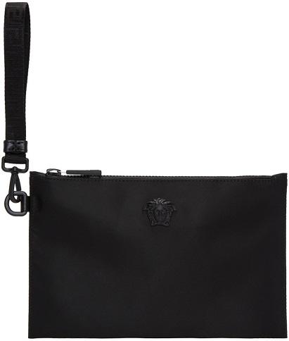 Versace Black Nylon Medusa Pouch