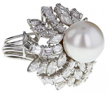 Vintage Pearl Diamond Ring