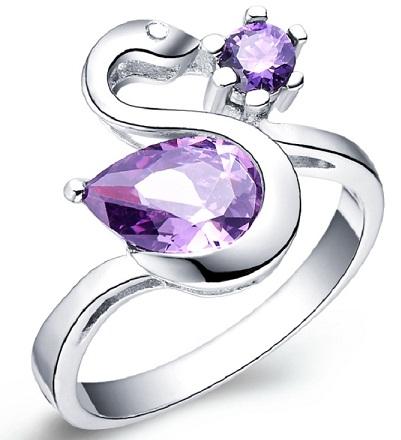 Designer Purple Stoned Diamond Ring