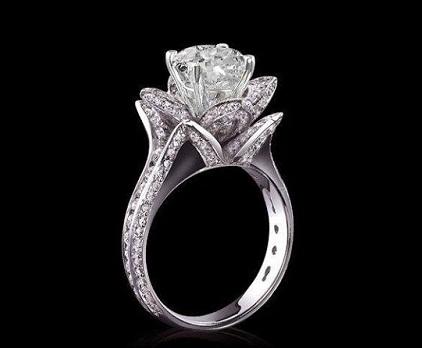 Designer Rose Flower Pave Diamond Wedding Ring