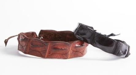 Crocodile leather anklet