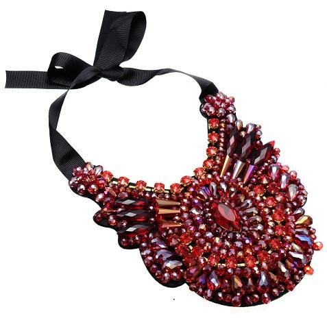 Huge Black Ribbon Chucky Stone Necklace