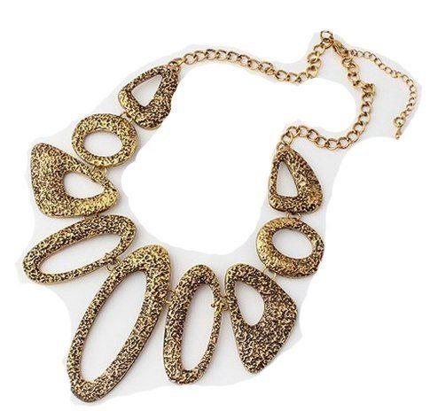 Hammered Gold design Link Necklace