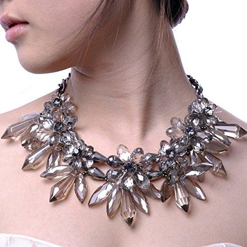 Crystal Flower Statement Necklace