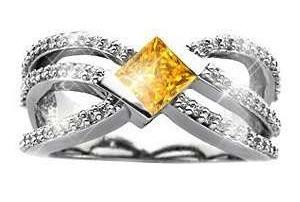 Crown Design Yellow Diamond Ring