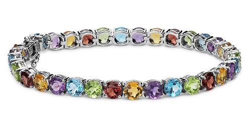 Multicolored gemstone bracelet