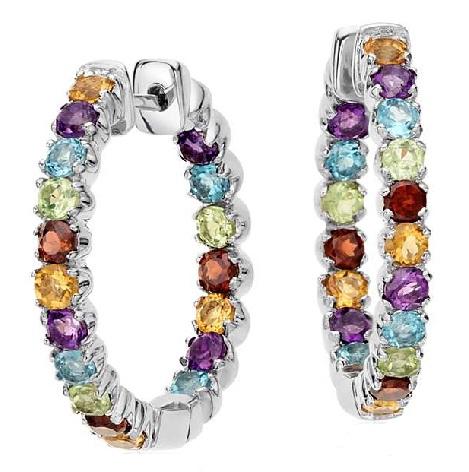 Hoop Gemstone earrings