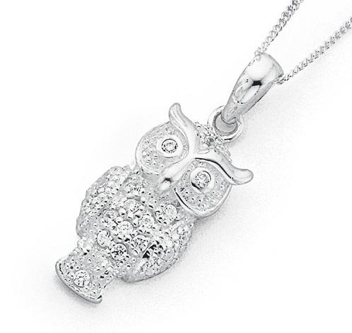 Silver Owl Locket Necklace
