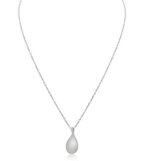 Matte Finish teardrop Pendant Sterling Silver Necklace