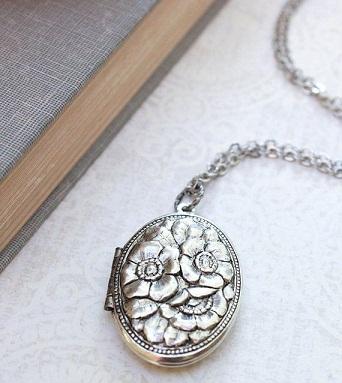 Vintage Design locket pendant Sterling Silver long Chain