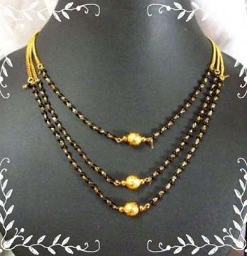 Three-row Black bead Mangalsutra Chain