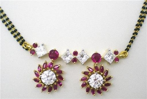 Ruby studded Semi-circular Vati Mangalsutra