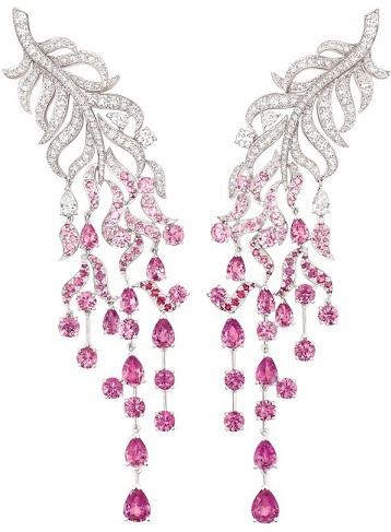 Pink sapphire intricate earrings