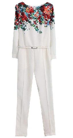 white-floral-slim-jumpsuits