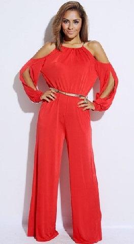 red-cut-out-shoulder-jumpsuits