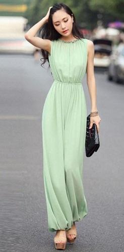 Chiffon Green Jumpsuit