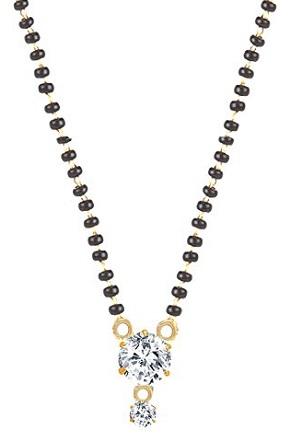 Large single American diamond mangalsutra