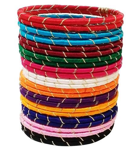Multi Coloured Thread Bangle Set