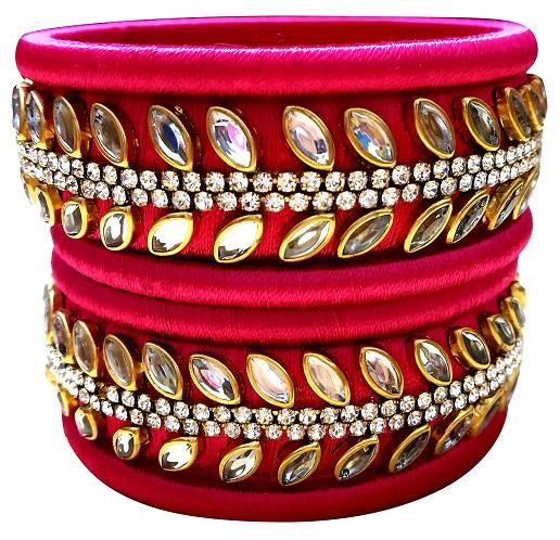 Silk Thread Bangles With Kundan Work