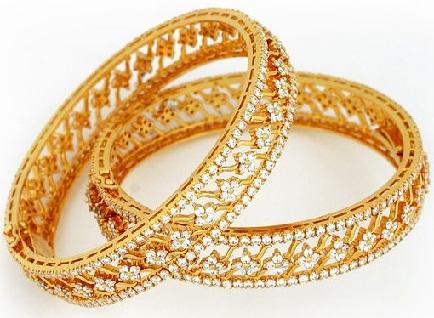 Gold And Diamond Bangles