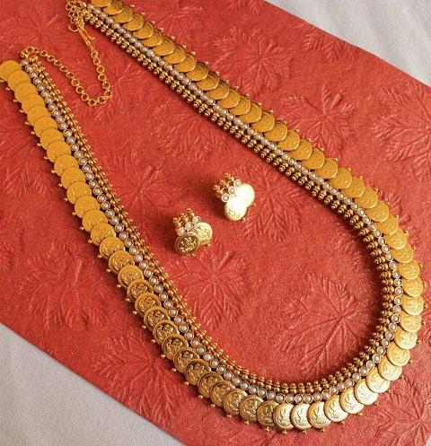 Long Lakshmi Coin Gold Necklace
